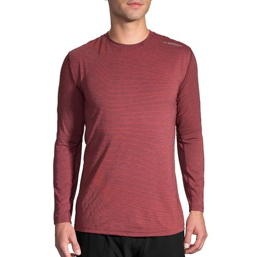 Mens Brooks Distance Long Sleeve Technical Tops - Heather Root Forge XS