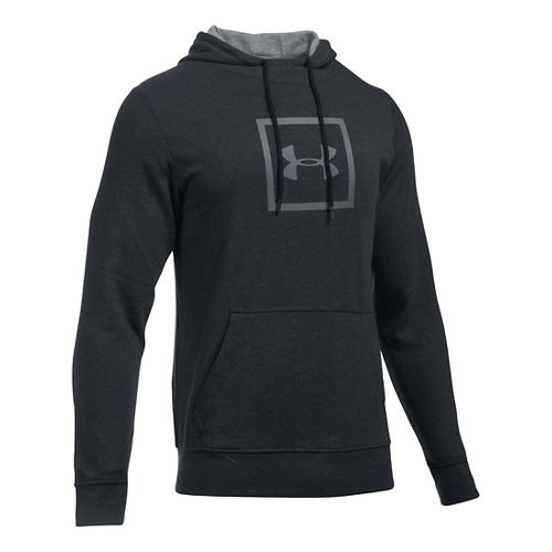 Mens Under Armour Triblend Armour Patch Hoodie & Sweatshirts Technical Tops - Asphalt Heather L ...