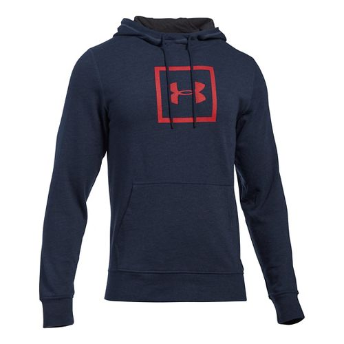Mens Under Armour Triblend Armour Patch Hoodie & Sweatshirts Technical Tops - Midnight Navy S ...