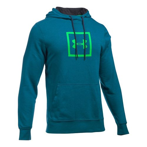 Mens Under Armour Triblend Armour Patch Hoodie & Sweatshirts Technical Tops - Peacock S
