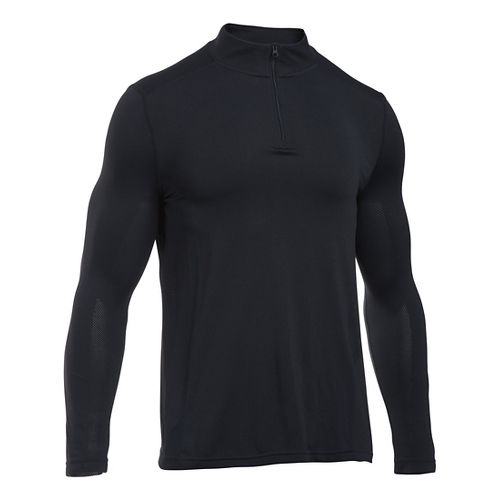 Mens Under Armour Elevated Seamless 1/4 Zip Long Sleeve Technical Tops - Black/Graphite L