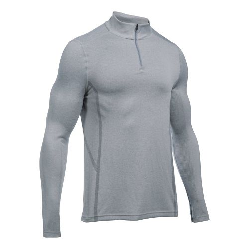 Mens Under Armour Elevated Seamless 1/4 Zip Long Sleeve Technical Tops - True Grey Heather M
