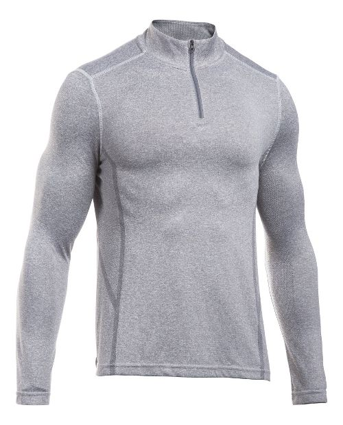 Mens Under Armour Elevated Seamless 1/4 Zip Long Sleeve Technical Tops - Grey Heather/Black M