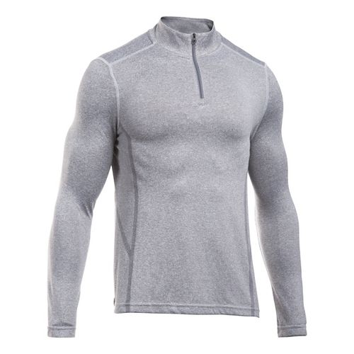 Mens Under Armour Elevated Seamless 1/4 Zip Long Sleeve Technical Tops - Grey Heather/Black XXL ...