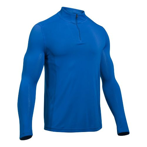 Mens Under Armour Elevated Seamless 1/4 Zip Long Sleeve Technical Tops - Blue Marker M ...