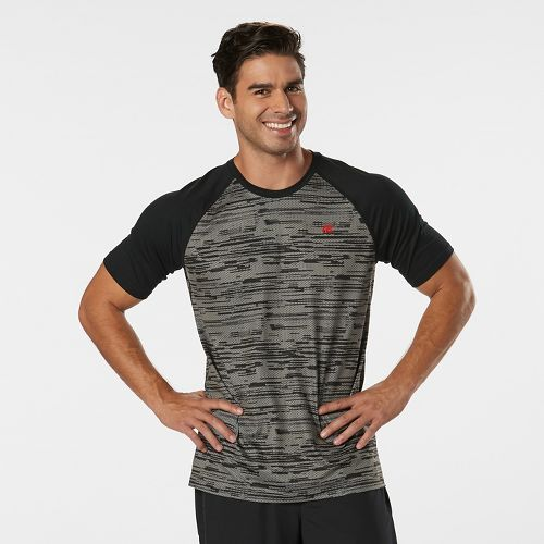 Mens Road Runner Sports Base Runner Printed Short Sleeve Technical Tops - Steel/Black XL