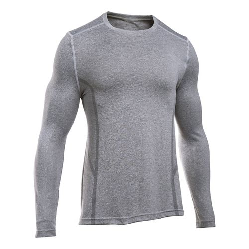 Mens Under Armour Elevated Seamless Tee Long Sleeve Technical Tops - Air Force Heather M ...
