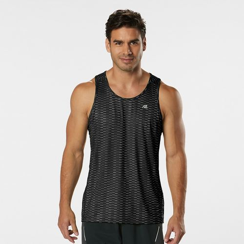 Mens Road Runner Sports Runners High Geometric Singlet Sleeveless & Tank Technical Tops - Black XXL