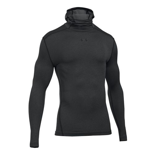 Mens Under Armour ColdGear Armour Hood Long Sleeve Technical Tops - Carbon Heather S