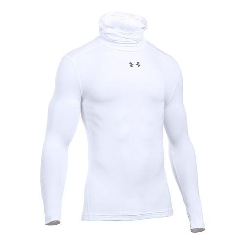 Mens Under Armour ColdGear Armour Hood Long Sleeve Technical Tops - White S