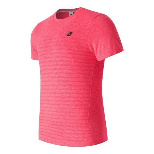 Mens New Balance M4M Seamless Short Sleeve Technical Tops - Cherry Heather L