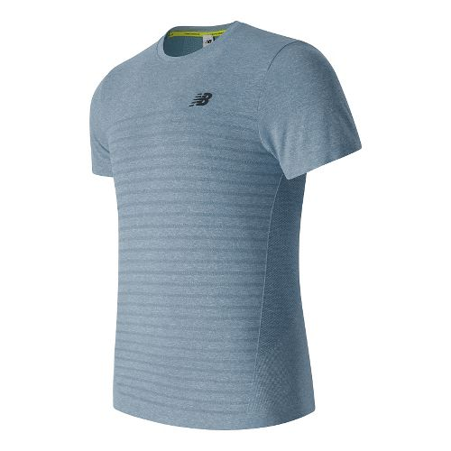 Mens New Balance M4M Seamless Short Sleeve Technical Tops - Riptide Heather XL