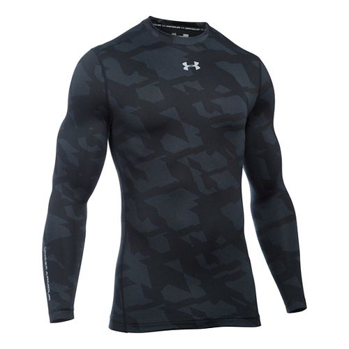 Mens Under Armour ColdGear Armour Jacquard Crew Long Sleeve Technical Tops - Black/Steel S