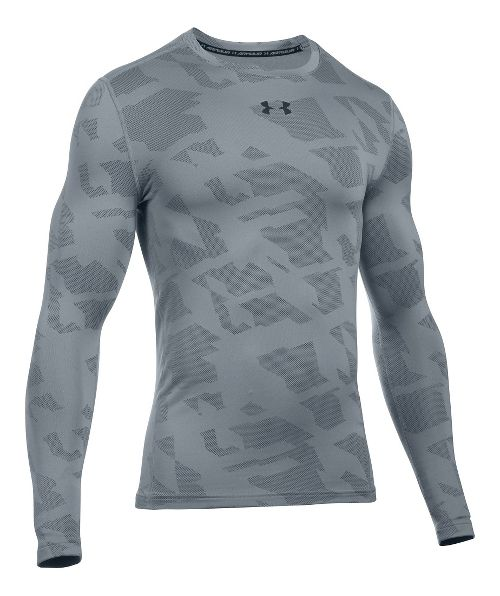 Mens Under Armour ColdGear Armour Jacquard Crew Long Sleeve Technical Tops - Steel/Black XL