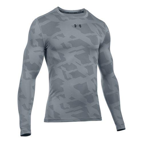 Mens Under Armour ColdGear Armour Jacquard Crew Long Sleeve Technical Tops - Steel/Black L