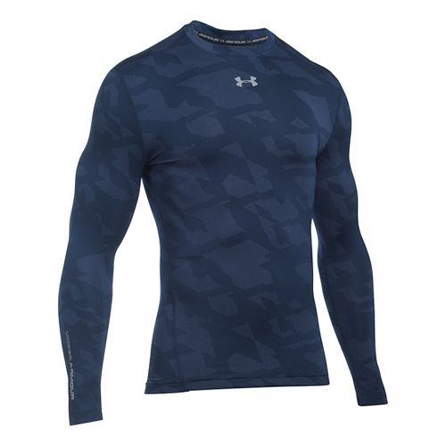 Mens Under Armour ColdGear Armour Jacquard Crew Long Sleeve Technical Tops - Midnight Navy/Grey XXL