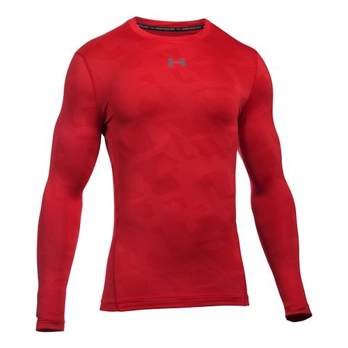 Mens Under Armour ColdGear Armour Jacquard Crew Long Sleeve Technical Tops - Red/Graphite L