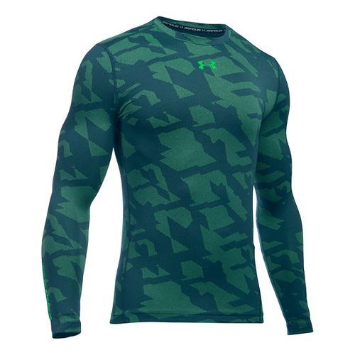 Mens Under Armour ColdGear Armour Jacquard Crew Long Sleeve Technical Tops - Nova Teal/Green L ...