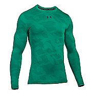 Mens Under Armour ColdGear Armour Jacquard Crew Long Sleeve Technical Tops - Geode Green/Grey S