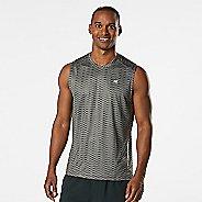 Mens Road Runner Sports Runners High Geometric Sleeveless & Tank Technical Tops - Steel L