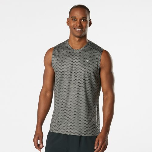 Mens Road Runner Sports Runners High Geometric Sleeveless & Tank Technical Tops - Steel L