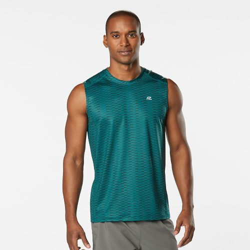 Mens Road Runner Sports Runners High Geometric Sleeveless & Tank Technical Tops - Deep Teal XL