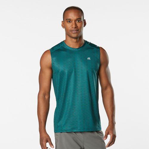 Mens Road Runner Sports Runners High Geometric Sleeveless & Tank Technical Tops - Deep Teal XXL