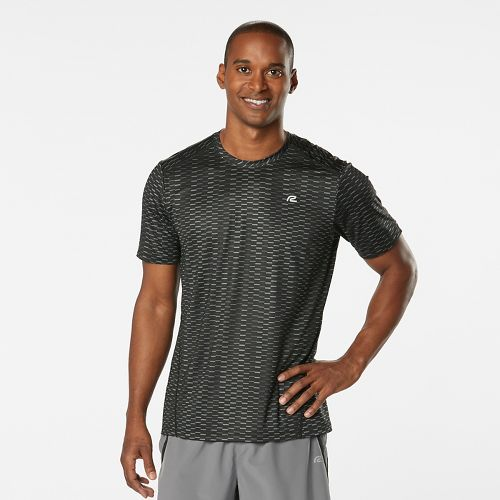 Mens Road Runner Sports Runners High Geometric Short Sleeve Technical Tops - Black M
