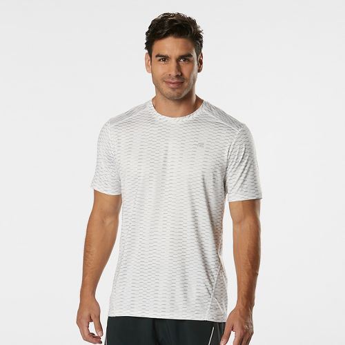 Mens Road Runner Sports Runners High Geometric Short Sleeve Technical Tops - White M