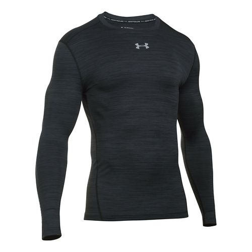 Mens Under Armour ColdGear Armour Twist Crew Long Sleeve Technical Tops - Black/Steel L
