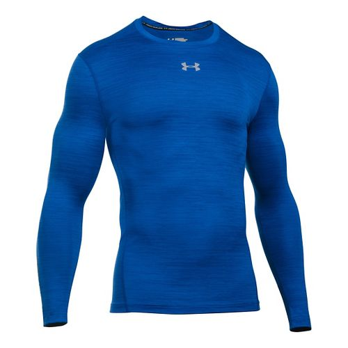 Mens Under Armour ColdGear Armour Twist Crew Long Sleeve Technical Tops - Royal/Steel M