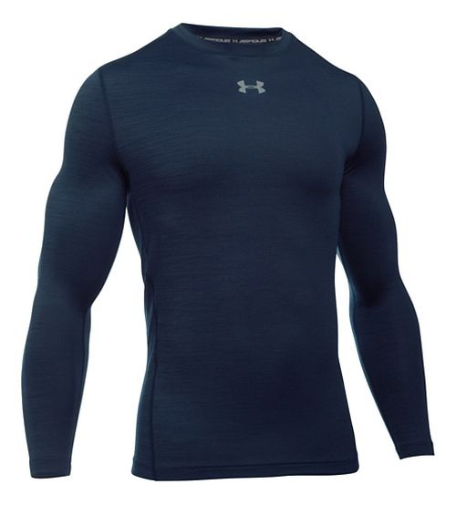 Mens Under Armour ColdGear Armour Twist Crew Long Sleeve Technical Tops - Midnight Navy/Grey M