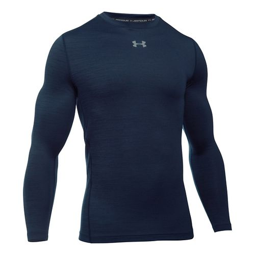 Mens Under Armour ColdGear Armour Twist Crew Long Sleeve Technical Tops - Midnight Navy/Grey L ...
