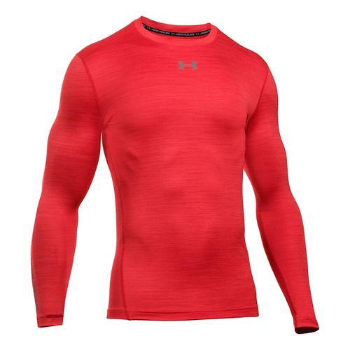 Mens Under Armour ColdGear Armour Twist Crew Long Sleeve Technical Tops - Red/Graphite L
