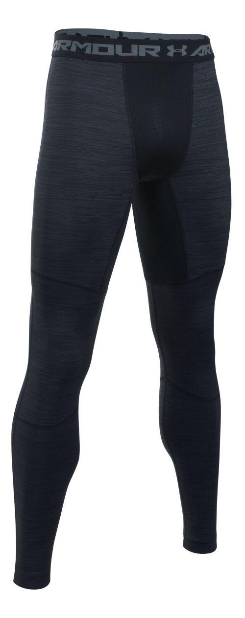 Mens Under Armour ColdGear Armour Twist Tights & Leggings Pants - Black/Steel MR