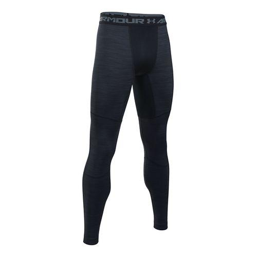 Mens Under Armour ColdGear Armour Twist Tights & Leggings Pants - Black/Steel 4XLR