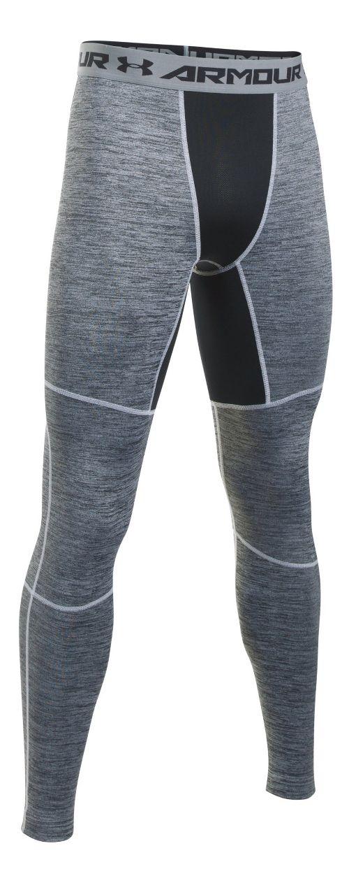 Mens Under Armour ColdGear Armour Twist Tights & Leggings Pants - White/Black MR