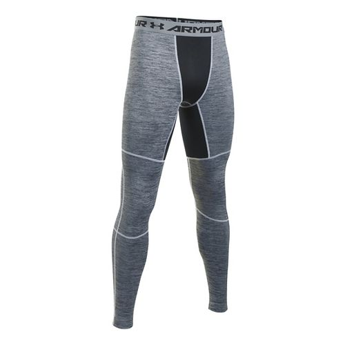 Mens Under Armour ColdGear Armour Twist Tights & Leggings Pants - White/Black XLR