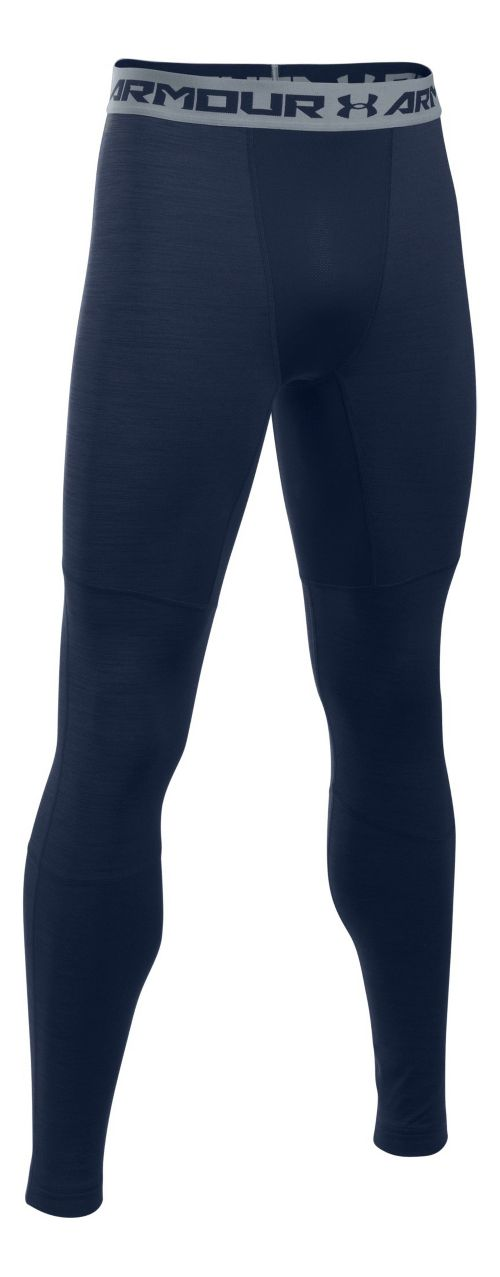 Mens Under Armour ColdGear Armour Twist Tights & Leggings Pants - Midnight Navy/Grey LR
