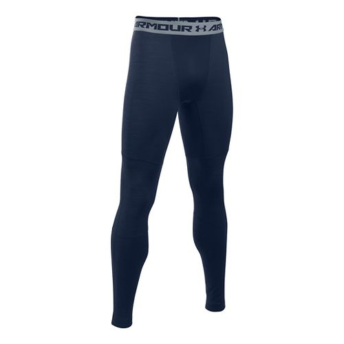 Mens Under Armour ColdGear Armour Twist Tights & Leggings Pants - Midnight Navy/Grey SR
