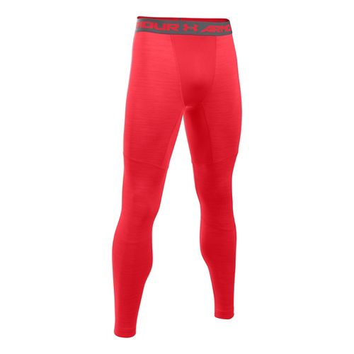 Mens Under Armour ColdGear Armour Twist Tights & Leggings Pants - Red/Graphite SR