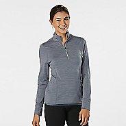 Womens Road Runner Sports Ready To Go Half-Zips & Hoodies Technical Tops - Grey Mist Stripe L