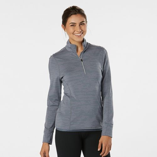 Womens Road Runner Sports Ready To Go Half-Zips & Hoodies Technical Tops - Grey Mist Stripe M