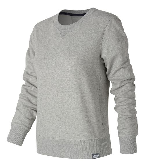 Womens New Balance Classic Crew Long Sleeve Technical Tops - Athletic Grey L
