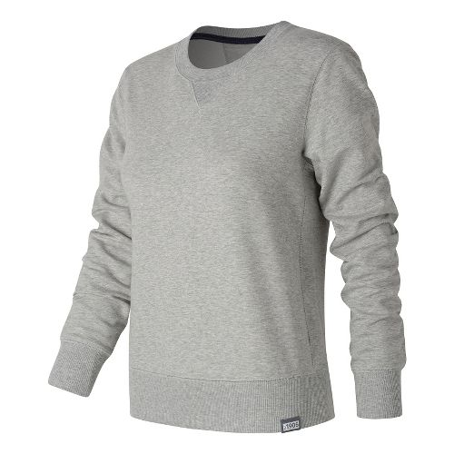 Womens New Balance Classic Crew Long Sleeve Technical Tops - Athletic Grey S