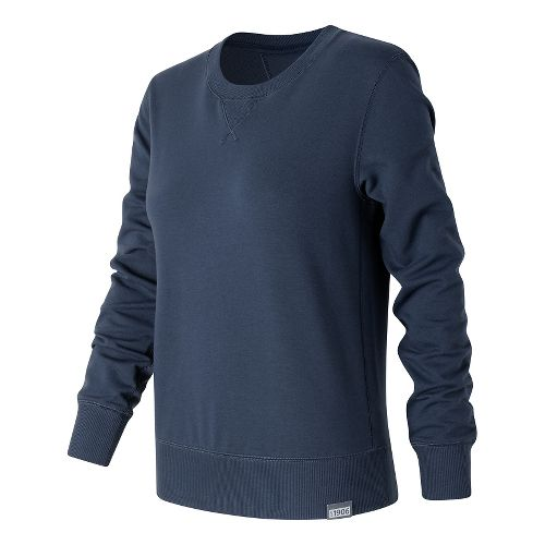 Womens New Balance Classic Crew Long Sleeve Technical Tops - Navy M