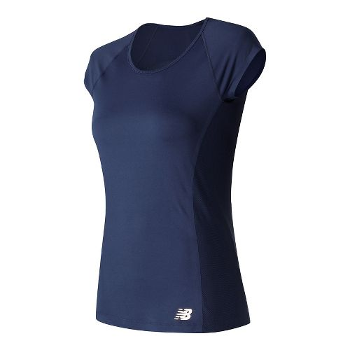 Womens New Balance Somerset Cap Sleeve Top Short Sleeve Technical Tops - Pigment M
