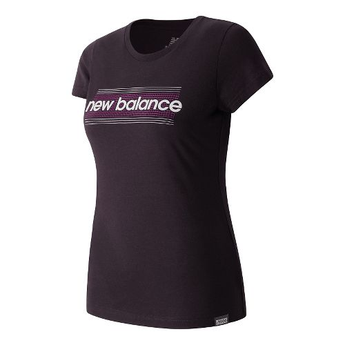 Womens New Balance Grid Tee Short Sleeve Technical Tops - Feather Grey Heather S