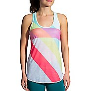 Womens Brooks Ghost Racerback Sleeveless & Tank Technical Tops - White/Multi Track L