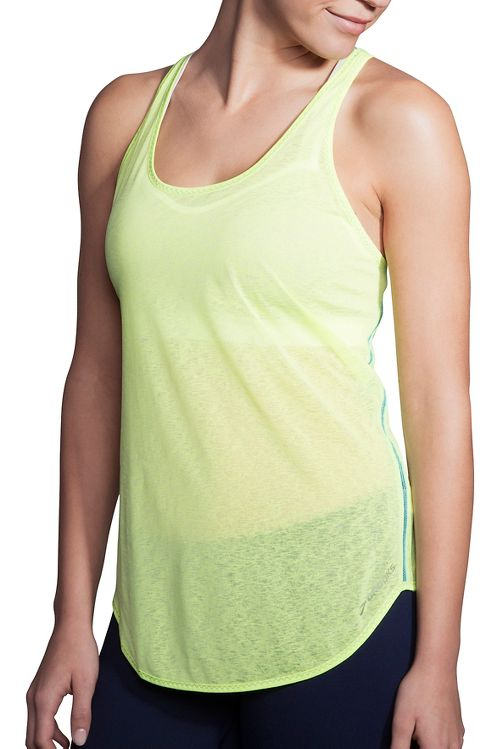 Womens Brooks Ghost Racerback Sleeveless & Tank Technical Tops - Aloe/Tile L